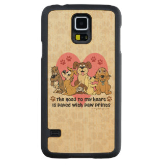 The Road To My Heart Dog Paw Prints Carved Maple Galaxy S5 Slim Case