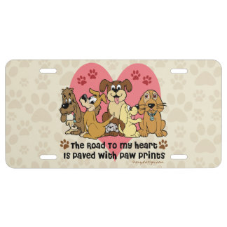 The Road To My Heart Dog Paw Prints License Plate