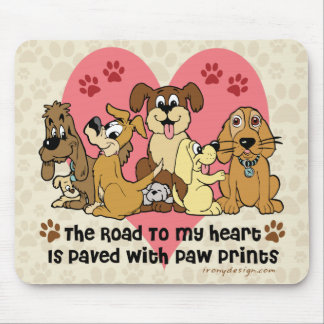 The Road To My Heart Dog Paw Prints Mouse Pad
