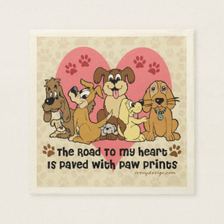 The Road To My Heart Dog Paw Prints Standard Cocktail Napkin