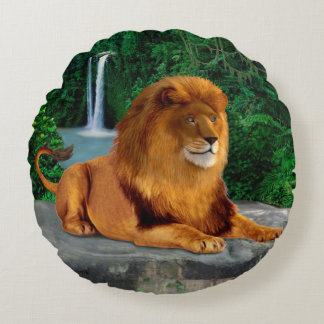 The Roaring Lion King Round Pillow