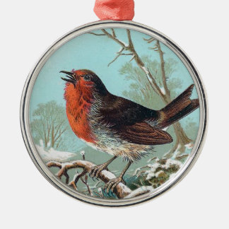 The Robin Vintage Bird Illustration Metal Ornament