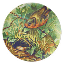 The Robin's Nest Vintage Illustration Dinner Plate