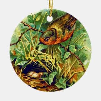 The Robin's Nest Vintage Illustration Christmas Tree Ornament