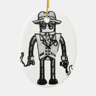 The Robot Takeover Gangster Robot Ceramic Oval Decoration