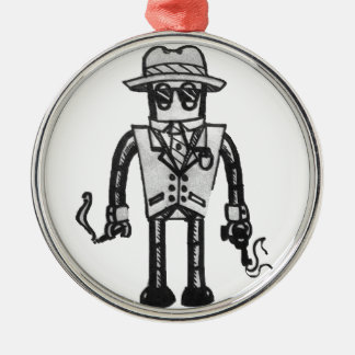 The Robot Takeover Gangster Robot Silver-Colored Round Decoration