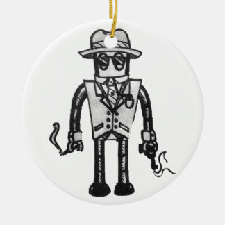 The Robot Takeover Gangster Robot Round Ceramic Decoration