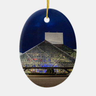 The Rock and Roll Hall of Fame at Dusk Ceramic Ornament