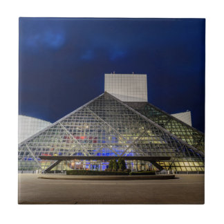 The Rock and Roll Hall of Fame at Dusk Ceramic Tile