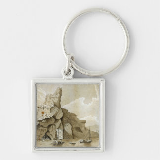 The Rock of Quang-Yin Silver-Colored Square Keychain