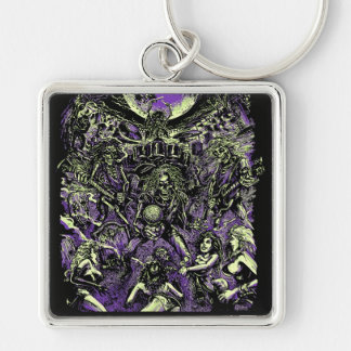 The Rockin' Dead Skeleton Zombies Silver-Colored Square Keychain
