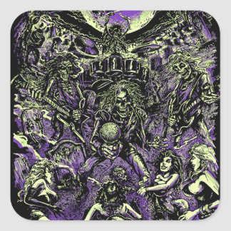 The Rockin' Dead Skeleton Zombies Square Sticker