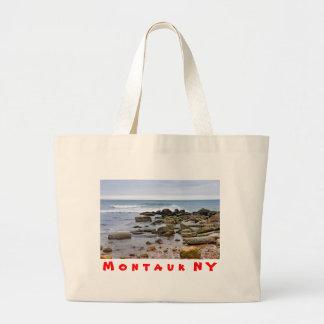The Rocky Beaches of Montauk, Long Island, NY Large Tote Bag
