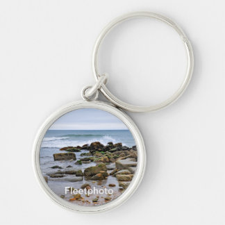 The Rocky Beaches of Montauk, Long Island, NY Silver-Colored Round Keychain