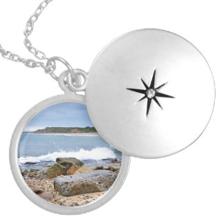 The Rocky Beaches of Montauk, Long Island, NY Silver Plated Necklace
