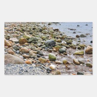 The Rocky Beaches of Montauk, Long Island, NY Rectangular Sticker