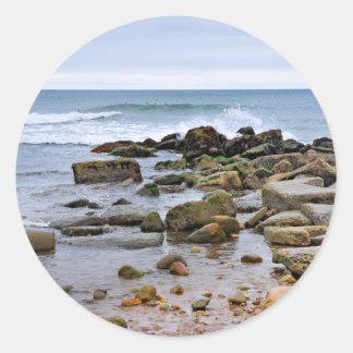 The Rocky Beaches of Montauk, Long Island, NY Classic Round Sticker