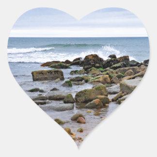 The Rocky Beaches of Montauk, Long Island, NY Heart Sticker