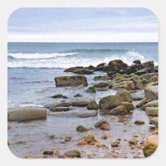 The Rocky Beaches of Montauk, Long Island, NY Square Sticker