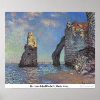 The rocky cliffs of Étretat by Claude Monet Poster