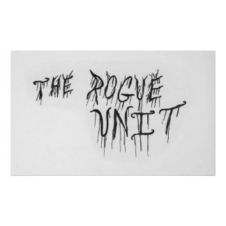 """""""The Rogue Unit"""" White Poster by Chuck Swaim"""