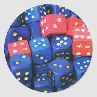The roll of a dice classic round sticker