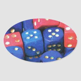 The roll of a dice oval sticker