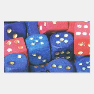 The roll of a dice rectangular sticker