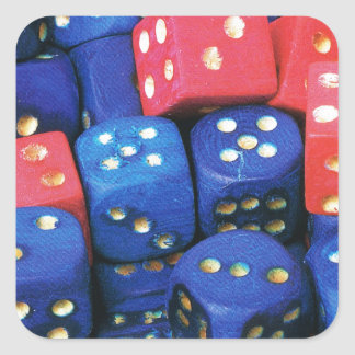 The roll of a dice square sticker