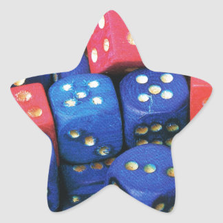 The roll of a dice star sticker