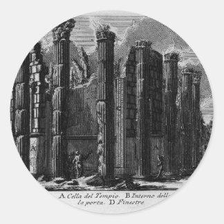 The Roman antiquities, t. 1, Plate XXII. Temple... Classic Round Sticker