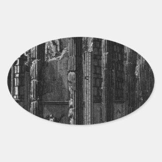 The Roman antiquities, t. 1, Plate XXII. Temple... Oval Sticker