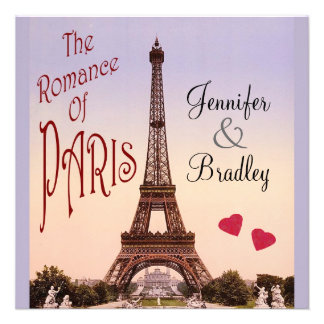 The Romance of Paris Vintage Wedding Personalized Invitation