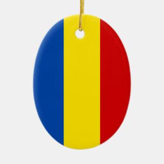 The Romanian Flag Ceramic Ornament
