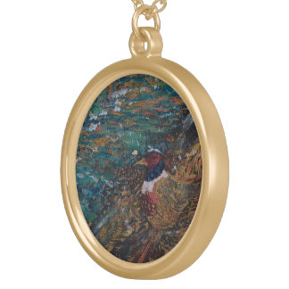 The Rooster In The Field Round Pendant Necklace