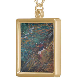The Rooster In The Field Square Pendant Necklace