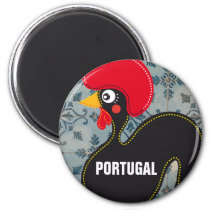 The Rooster of Portugal and Portuguese Mosaics Magnet