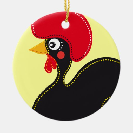 the Rooster of Portugal Double-Sided Ceramic Round Christmas Ornament