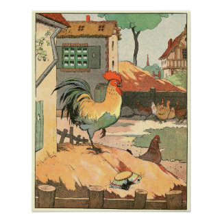 The Rooster Storybook Illustration Posters