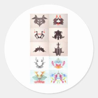 The Rorschach Test Ink Blots All 10 Plates 1-10 Classic Round Sticker