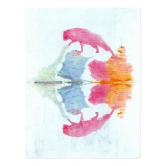 The Rorschach Test Ink Blots Plate 8 Animal Postcard