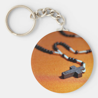 the rosary wooden cross keychain
