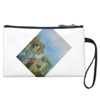 The Rose. A masterpeace of detail painting. Suede Wristlet Wallet