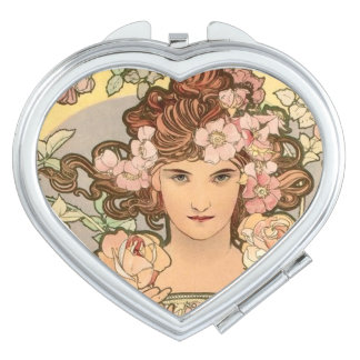 The Rose by Mucha Compact Mirror
