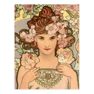 The Rose by Mucha Postcard