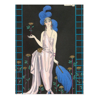 The Rose Evening Dress by George Barbier Postcard