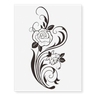 the rose long temporary tattoo