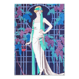 """The Roses and the Night Art Deco Invitations 3.5"""" X 5"""" Invitation Card"""