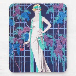 The Roses and the Night Art Deco Mouse Pad