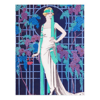 The Roses and the Night Art Deco Postcard